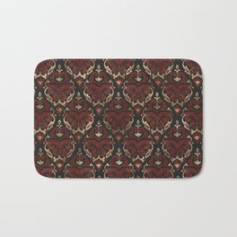 Persian Oriental Pattern - Black and Red Leather Bath Mat