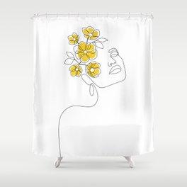Mustard Bloom Girl Shower Curtain