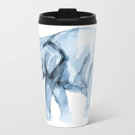 Elephant Sketch in Blue Travel Mug