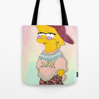 simpson Tote Bags featuring chic lisa simpson by Sara Eshak