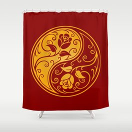 Yellow and Red Yin Yang Roses Shower Curtain
