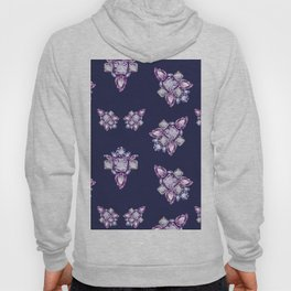 Jewelbox: Amethyst Brooch on Indigo Ink Hoody