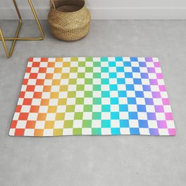 Rainbow Checkerboard Rug