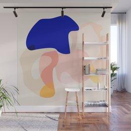 Modern Abstract Peach Pink Navy Blue Yellow Pattern Wall Mural