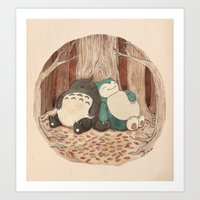snorlax Art Prints featuring Best Friends Forevah by Najmah Salam