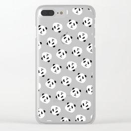 Pink Pixel Panda Pattern Clear iPhone Case
