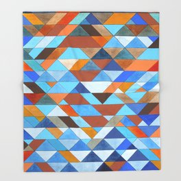 Triangle Pattern no.18 blue and orange Throw Blanket