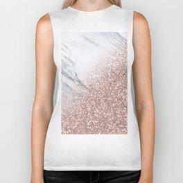 Blush Pink Sparkles on White and Gray Marble V Biker Tank