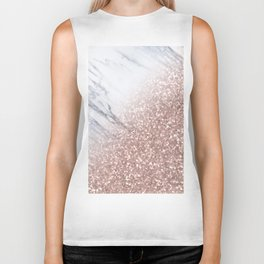 Blush Pink Sparkles on White and Gray Marble V Biker Tank