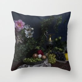 Classic  still life with flowers, fruit, vegetables and wine Throw Pillow