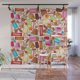 sweets seamless pattern (lollipop, candy cane, pudding in dish, birthday cake with candles) Wall Mural