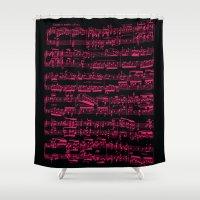 beethoven Shower Curtains featuring Beethoven piano Sonata No.7 sheet music, neon pink on black. by César Padilla