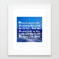 islam Framed Art Prints featuring Quran Islam Typography - Heaven by Quran Quotes Daily