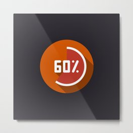 """Print illustration """"percentage - 60%"""" with long shadow in new modern flat design Metal Print"""