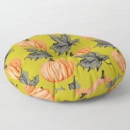 Gold Pumpkin Autumn Leaf Floor Pillow