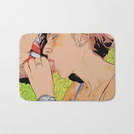 NSFW! Adult content! Cartoon play, sexy redhead blow, erotic comic illustration sexy girl oral sex 3 Bath Mat