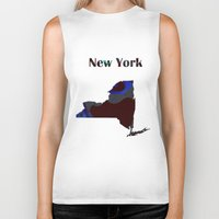 new york map Biker Tanks featuring New York Map by Roger Wedegis