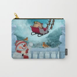Christmas design, Santa Claus with reindeer Carry-All Pouch