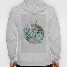 Moon, Plant, Succulent, Space, Collage, Modern, Minimal Art Print Hoody