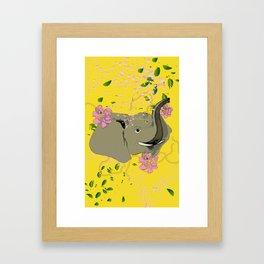 Lucky Elephant in Yellow Framed Art Print