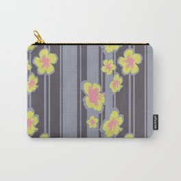 Striped Hibiscus Print Carry-All Pouch