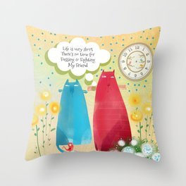 Life Is Very Short, Flossie's Cats Throw Pillow