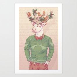 Dasher le Renne Art Print
