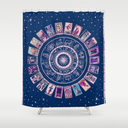 Major Arcana & Wheel of the Zodiac   Pastel Goth Shower Curtain