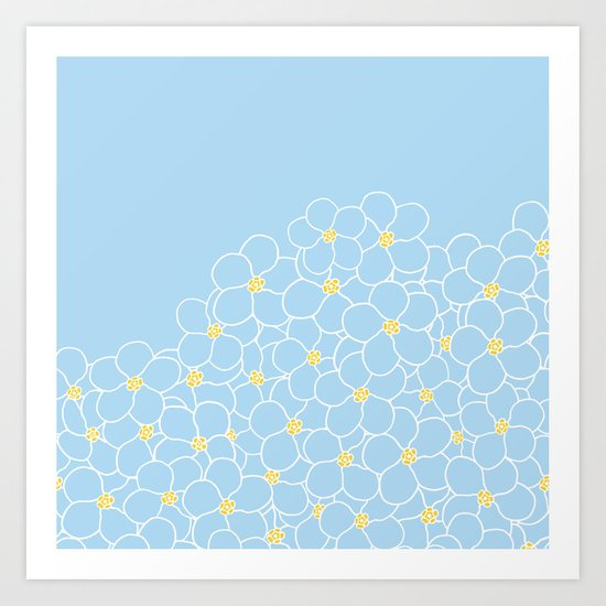 Forget Me Knot Blue Boarder Art Print