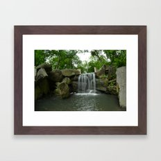 Central Park Waterfall Framed Art Print