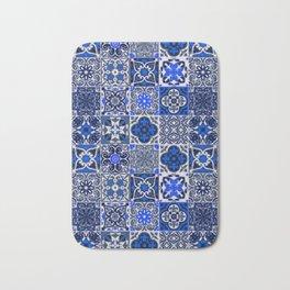 -A34- Blue Traditional Floral Moroccan Tiles. Bath Mat