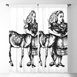 Alice and the Fawn in Black with Transparent Background Blackout Curtain