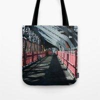 rileigh smirl Tote Bags featuring Williamsburg Bridge by Rileigh Smirl