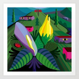 Flowers in Bolinas Art Print