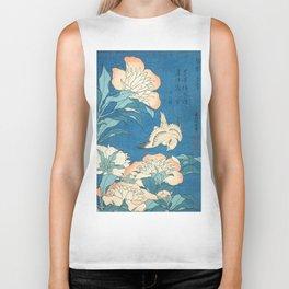 Japanese Flowers Turquoise Peach Biker Tank