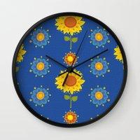 ukraine Wall Clocks featuring Sunflowers of Ukraine by rusanovska