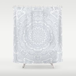 Light Gray Ethnic Eclectic Detailed Mandala Minimal Minimalistic Shower Curtain