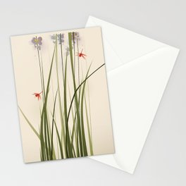 oriental style painting, tall grasses and flowers Stationery Cards
