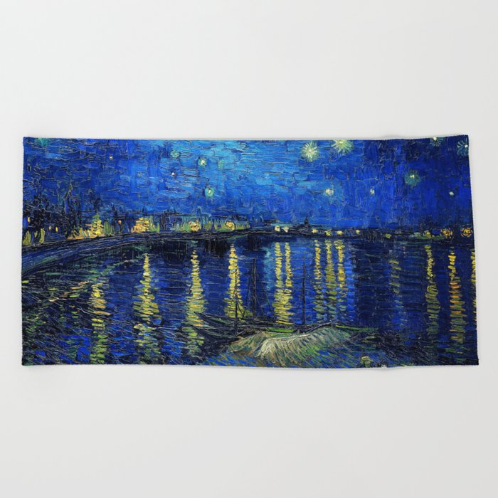 Starry Night Over the Rhone by Vincent van Gogh Beach Towel