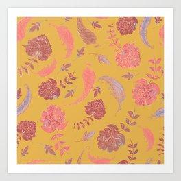 Paradise Patterns - Yellow & Coral Art Print