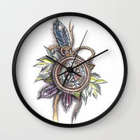 compass Wall Clocks featuring Compass by byfgal