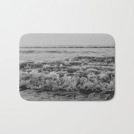 Black and White Pacific Ocean Waves Bath Mat