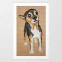 chihuahua Art Prints featuring Chihuahua by PaperTigress