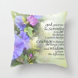 Serenity Prayer Morning Glories Glow Throw Pillow