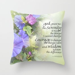 Serenity Prayer Morning Glories Glow Throw Pillow