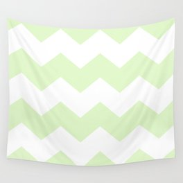 Green and white zig zag simple graphic pattern Wall Tapestry