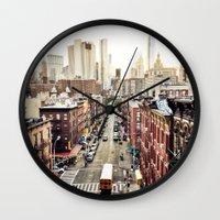 Wall Clocks featuring New York City by Orbon Alija