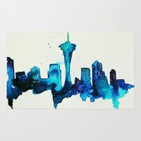 seattle Area & Throw Rugs featuring Seattle  by Talula Christian