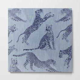 periwinkle leopard pattern Metal Print