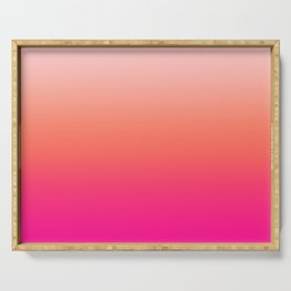 Gradient Ombre Living Coral Millennial Plastic Pink Pattern Peachy Orange Soft Trendy Cute Texture Serving Tray